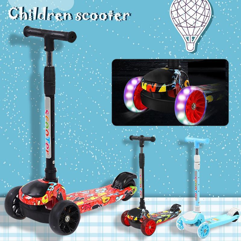 Enfants Scooter pliant enfants Scooter multi-fonction Graffiti trois roues Flash Scooters jouets de plein air-15 ans vélo