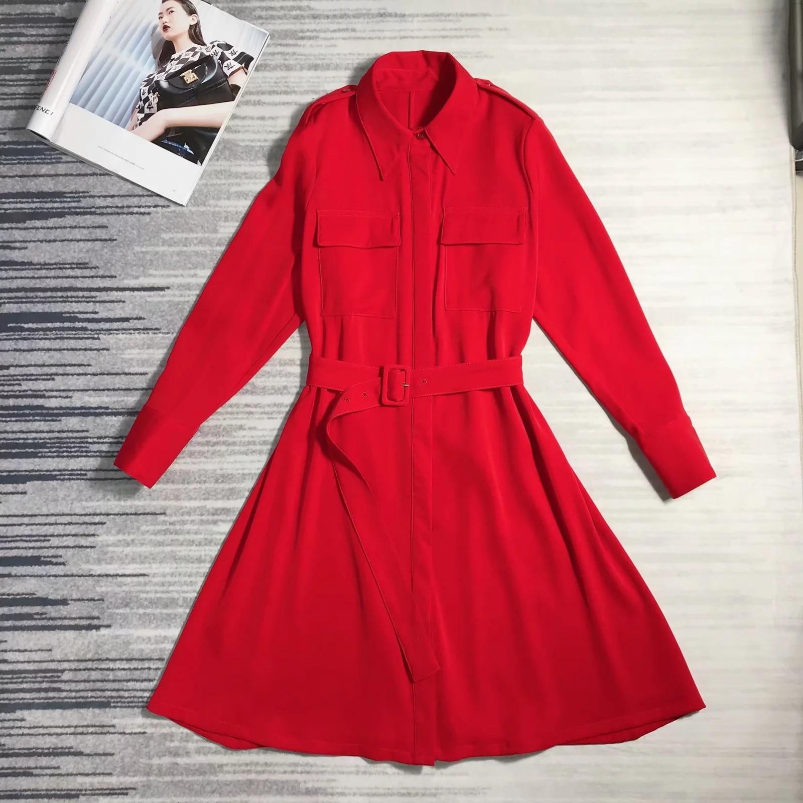 longqibao Red dress chic gentle fairy ins retro shirt dress