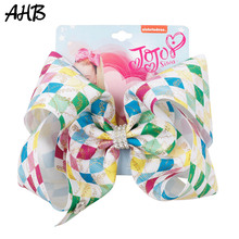AHB Hair Accessories 8 Inch Jumbo Bows for Girls Gold Print Ribbons Rhinestone Hairgrips Party Hairbows Barrettes Kids