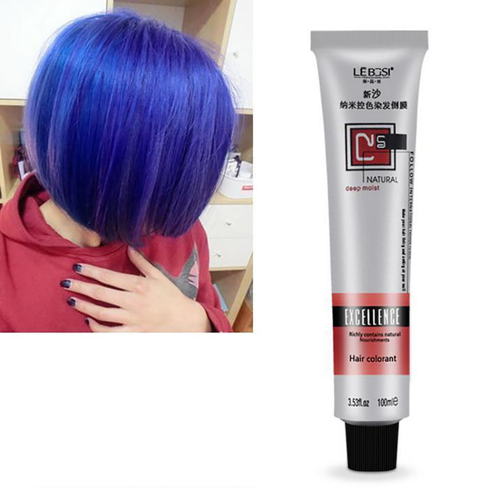 Fashion Unisex Color Hair Cream Color Styling Temporary Colors Cream Blue Purple Gray Hair Dye Wax Easy Wash Plants Component