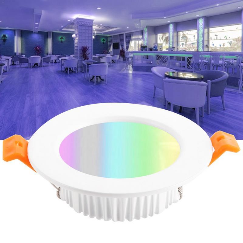 Wi-fi inteligente Downlight Teto Dimmable Recesso Luz Do Ponto Remendo LEVOU Vivendo Lâmpada do Quarto de Abertura 90 MM 7 W Cor RGB trocar a Lâmpada