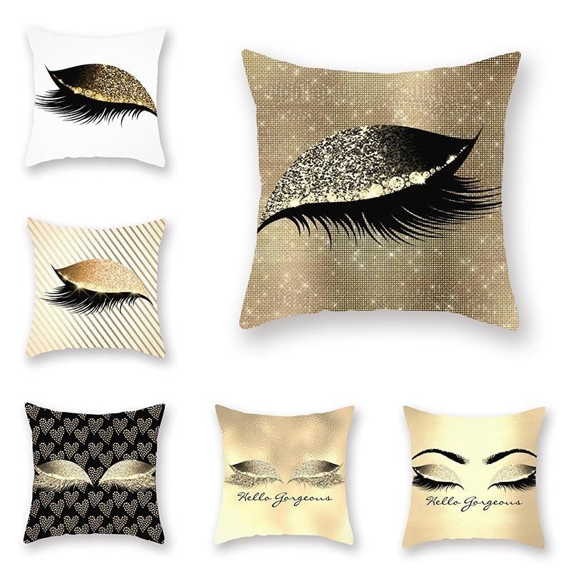 Elegant Golden Pink Eyelash Style Cushion Cover For Sofa
