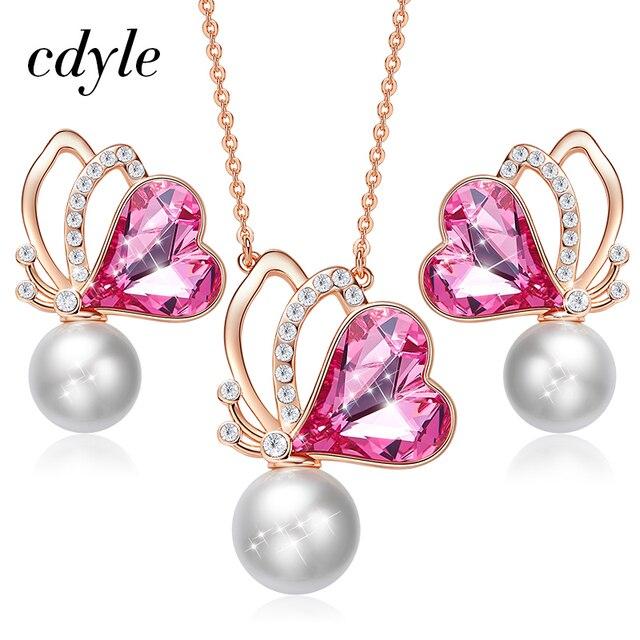 Cdyle Frauen Gold Schmuck Set Verziert mit kristallen von Swarovski Schmetterling Flügel Schmuck Halskette Ohrringe Set Liebe Geschenke