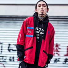 #4204 Spring 2019 Hip Hop Japan Kimono Cardigan Windbreaker Jacket Men Thin V-Neck Jackets With Embroidery Black/Red