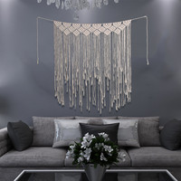 Bohemian Style Macrame Cotton Handmade Tapestry Curtain Wall Hanging Decor for Bedroom Living Room Home Wedding Decoration