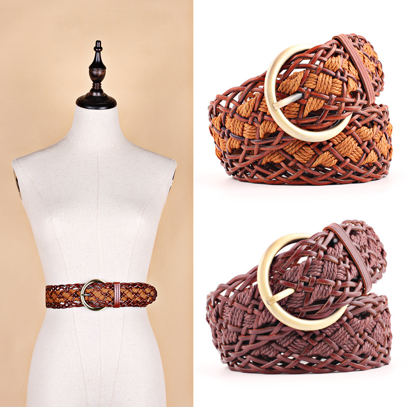 Fashion Faux Leather Knitted Braided Weaving Waist Round Buckle   Belts   For Women Dresses Circle Waist Rope Casual Luxury