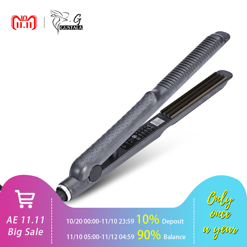 Gustala Pro Electronic Hair Curling Irons Curler Temperature Control Titanium Corrugated Crimper Waves Iron Tools Fast Warm-up