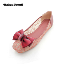 New Ladies Lace Flats Beautiful Square Toe Ballet Girls Summer Bowknot Large Size Casual Shoes Pregnant Woman