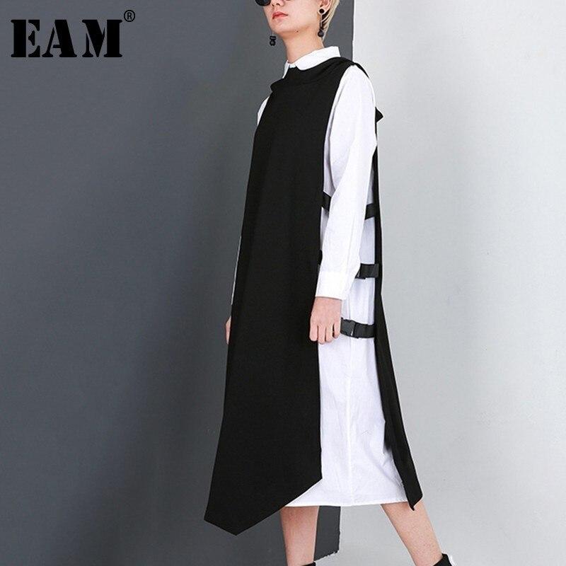 [EAM] 2019 nouveau printemps col rond à manches longues blanc vert gilet boucle Hit couleur deux pièces robe femmes mode marée JD900