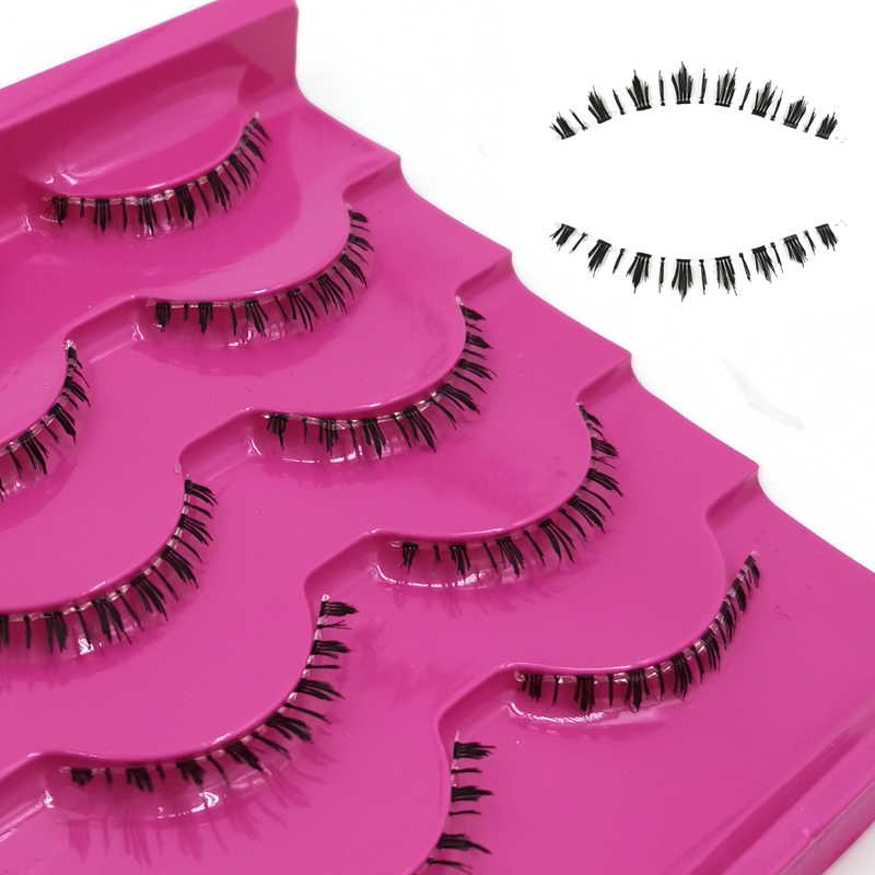 ICYCHEER 5 Pairs 3D Mink Under Bottom False Eyelashes Messy Cross Thick Lower False Eye Lashes Handmade Soft Long Fake Lashes
