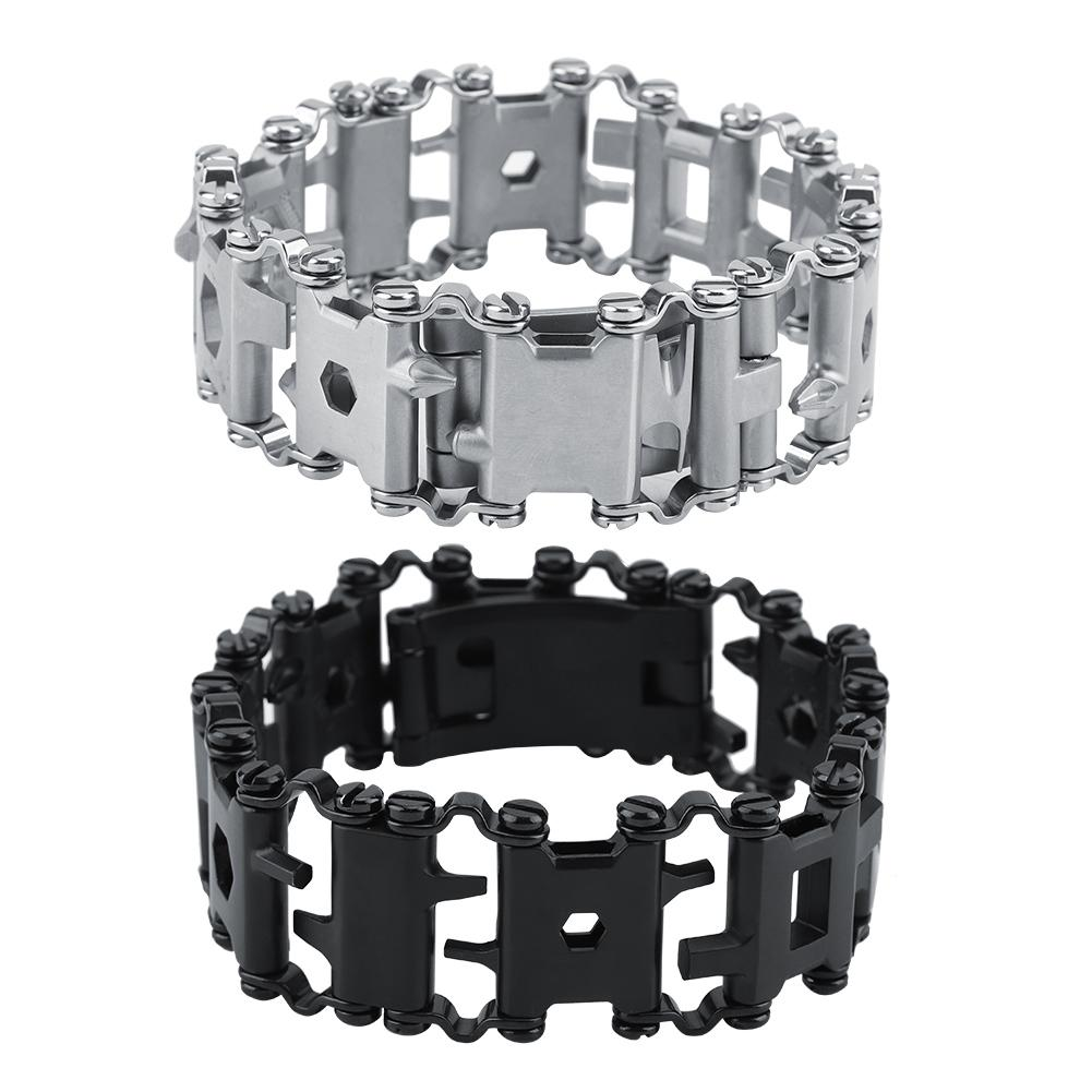 29 in 1 Multifunction Tread Bracelet Stainless Steel Outdoor Bolt Driver Tools Kit Travel Friendly Wearable