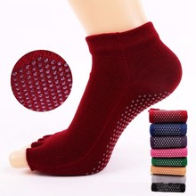 1 Pair High Quality Half Five Fingers Cotton Toe Yoga Sock Non-Slip Peep Anti-Slip Pilates Ankle Grip Durable Open