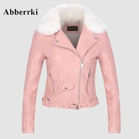 European and American Women Outwear New Fake PU Leather Jacket Slim Motorcycle Coat Winter Pink Jackets