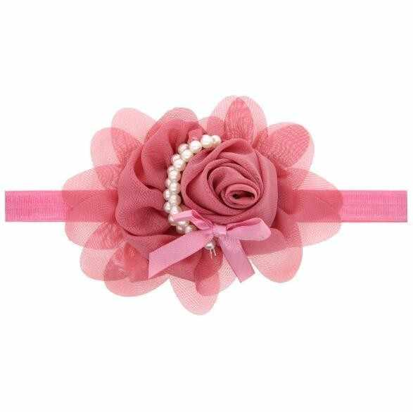 Повязка на голову для девочек Детские аксессуары для волос одежда band жемчужного цвета с цветком, головные уборы для новорожденных головной убор повязка для волос hairband подарок для малышей
