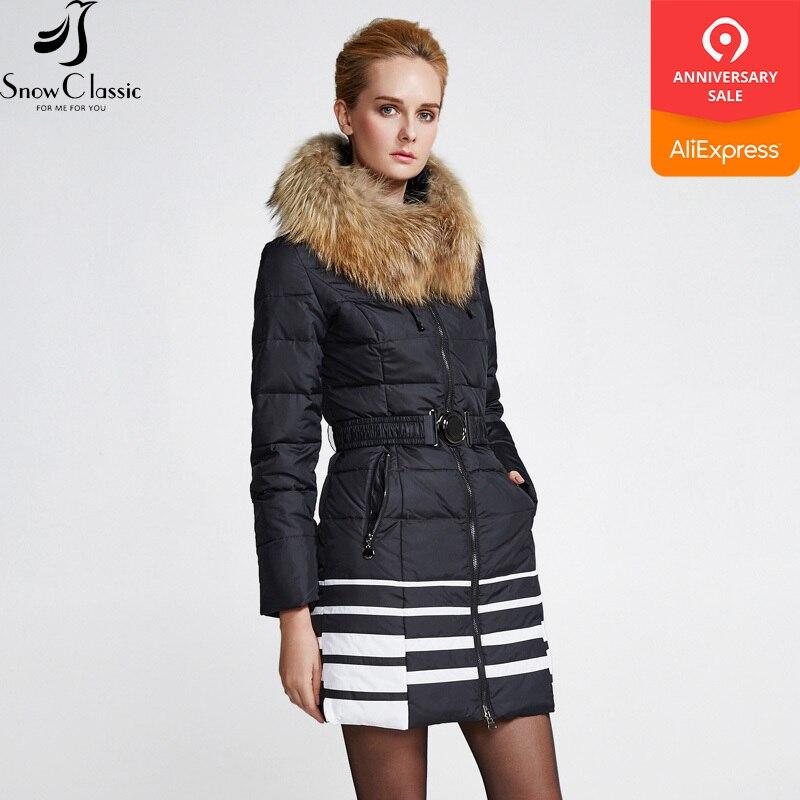Snowclassic Women's Winter Jacket 2018 real raccoon fur collar ladies winter jacket down jacket ladies windbreaker fashion warm