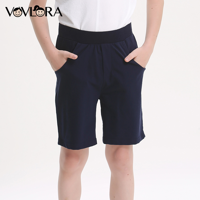Boys Shorts Sport Summer Cotton Kids Shorts Pants Elastic Waist Solid Loose Children Clothes 2018 Size 7 8 9 10 11 12 13 14 Year цена