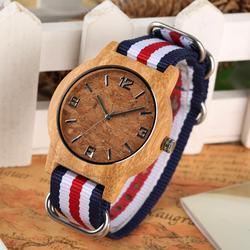 Пробкового шлака деревянные часы для мужчин часы кварцевые для женщин часы Мода ткань нейлон холст часы женский запястье браслет