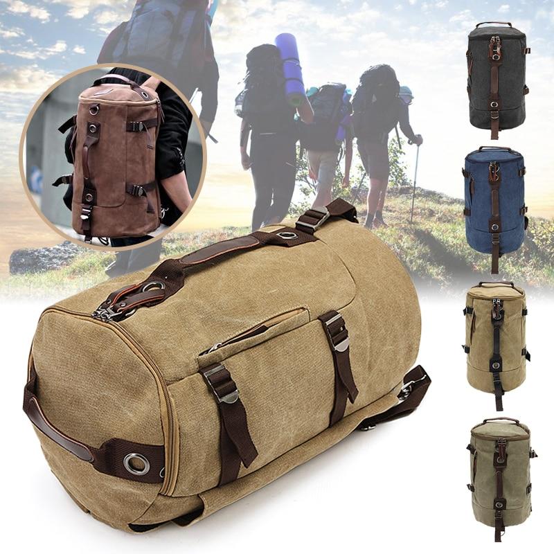 New Mens Vintage Novelty Brown Canvas Duffel Backpack Camping Gym Shoulder Bag Luggage Hand Bag Sports BagNew Mens Vintage Novelty Brown Canvas Duffel Backpack Camping Gym Shoulder Bag Luggage Hand Bag Sports Bag