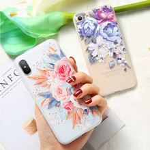 3D Relief Flower Case For iPhone XS XR Max Sexy Floral Silicon Cover Fundas Capa