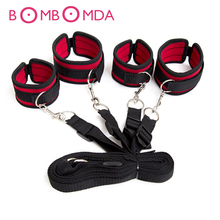 Sex Toys Tied Tease Under Bed Bondage Restraint Nylon Velvet Hand Cuffs &Ankle Cuffs Set Sex Products For Couples Sexy Game O3