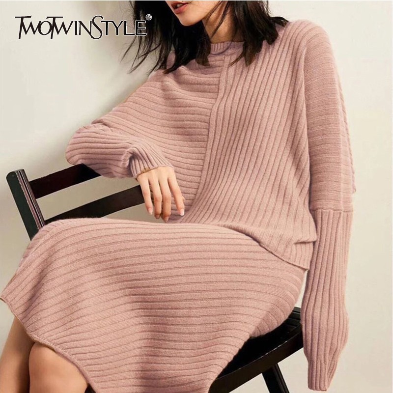 TWOTWINSTYLE Irregular Knitted Women's Suits Long Sleeve Pullover Tops High Waist Midi Skirts Two Piece Set Female Fashion Tide