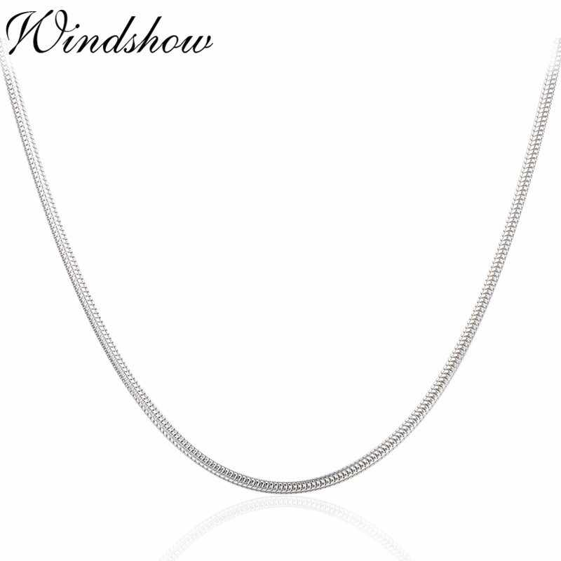 "40-90cm 1.5mm Real Solid Pure 925 Sterling Silver Round Snake Chain Necklace Women Girls Men Jewelry 16""-36"" Erkek Kolye Ketting"