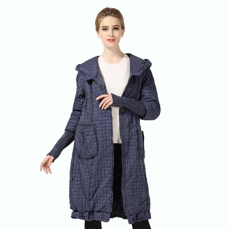 Parka de Invierno para mujer abrigo a cuadros largo talla grande chaqueta mujer Casual suelta algodón acolchado con capucha Abrigos Mujer alureamore