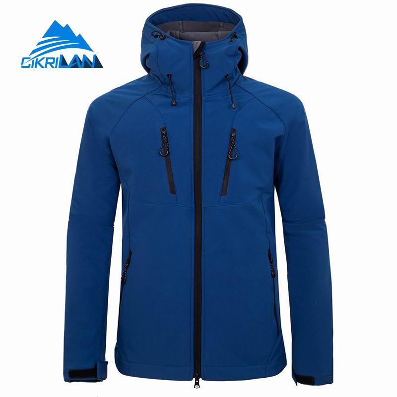 New Hooded Outdoor Softshell Jacket Men Water Resistant Sport Climbing Hiking Fishing Coat Camping Trekking Fleece Lined Jackets