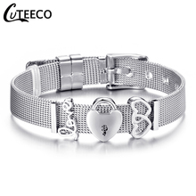 все цены на CUTEECO Charm Jewelry Silver Color Stainless Steel Mesh Bracelet Set Gold Love Lock Brand Bracelet for Woman Girlfriend Gift