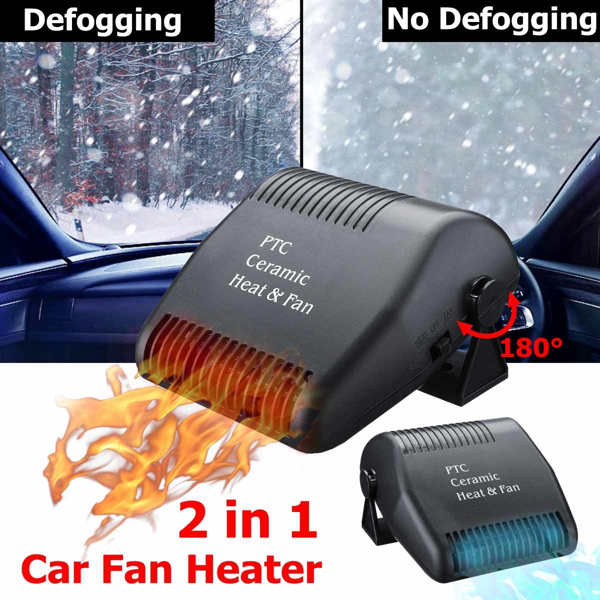 12V 150W  Portable Auto Car Fan Heater Demister Defroster Car Heater  Heating Windshield Defroster demister 180 degree rotation|Heating & Fans| |  - title=