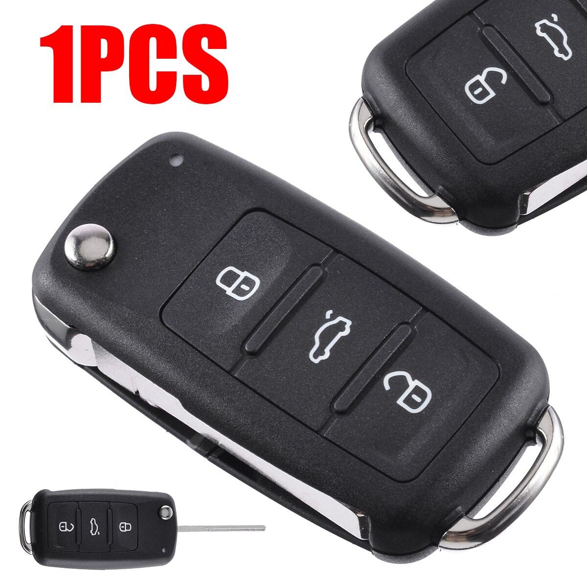3 Button Folding Car Remote Flip Key Shell Case Fob NO LOGO for V-W Auto Ignition System With Key Blade