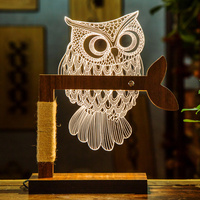 Dimmable Bedside Butterfly Animal USB Night Light Acrylic Reading Lamps Owl Table 3D Warm Light Led