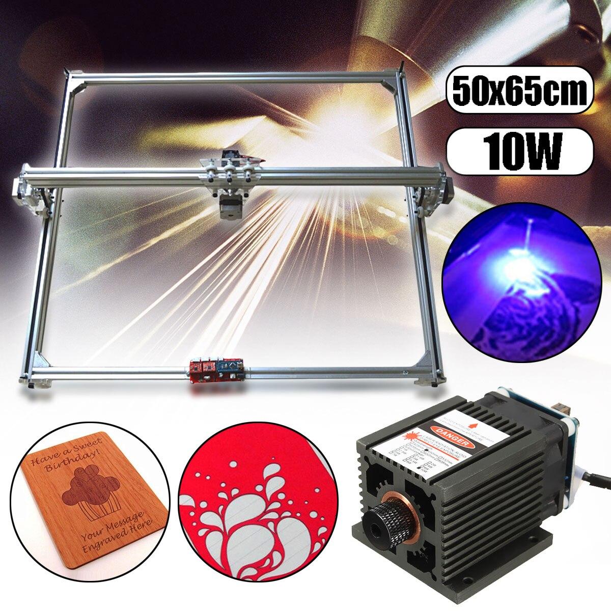 50*65 cm Área Mini Laser Engraving Máquina De Corte Impressora DC 12 V Cortador de Madeira + 10 W Azul cabeça do laser Poder Ajustar Kit de Mesa DIY