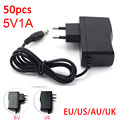 50pcs 5V 1A 1000mA AC DC Power Adapter supply EU US AU UK Plug Converter adapter charger 5.5mm x 2.1mm for LED Strip cctv Camera