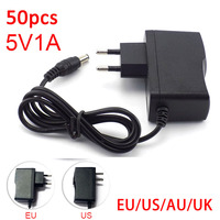 50pcs 5V 1A 1000mA AC DC Power Adapter supply EU US AU UK Plug Converter adapter charger 5.5mm x 2.1mm for LED Strip cctv Camera