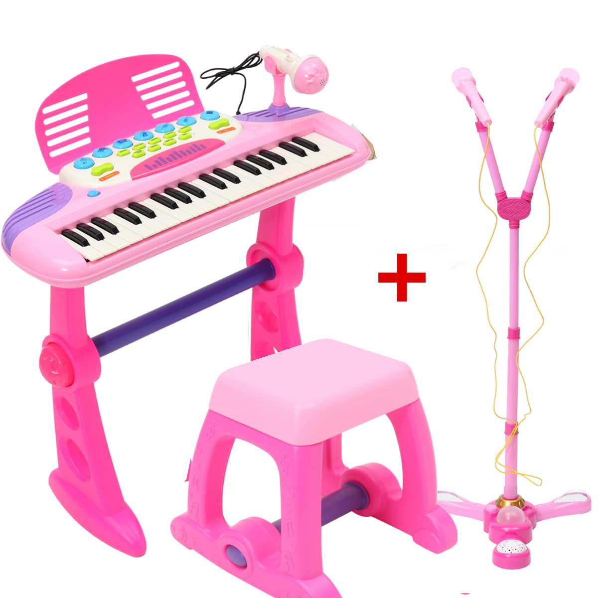 все цены на 37 Key Kids Electronic Keyboard Piano Organ Pink Electone Toy Children Musical Educational Instrument with Microphone Stool Gift