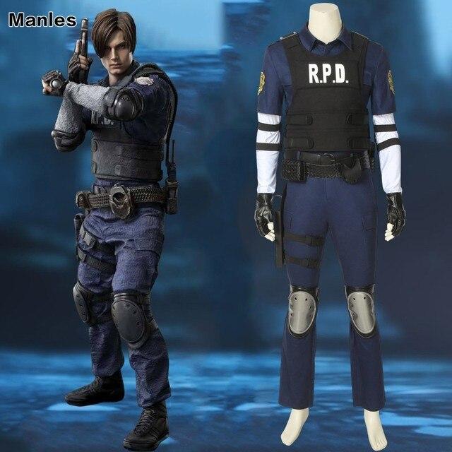 Resident Evil 2 Cosplay Costume Leon Scott Kennedy Game Hero Vest Carnival Custom Made Halloween Leather Adult Full Set Outfit