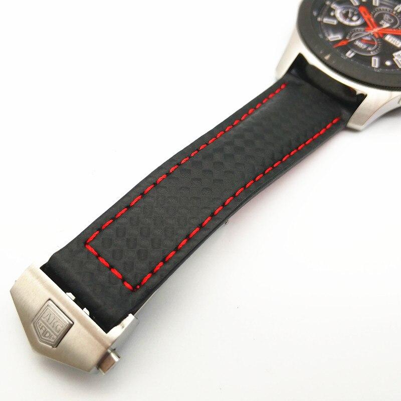 Date Carbone fibre Véritable bracelet de montre En Cuir Bande Pour Samsung Galaxy Montre 46mm 42mm Vitesse S3 Classique Frontière montre huawei 2 - 5
