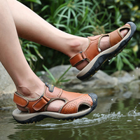 New 2019 Summer New Genuine Leather Outdoor Shoes Men Sandals Casual Classic Water Walking Beach Sandalias Sandal Big Size