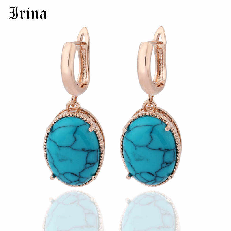 Irina Vintage Rose Gold เครื่องประดับสังเคราะห์ Turquoises ต่างหูต่างหู Dangle Drop ต่างหู Charm ต่างหูหิน