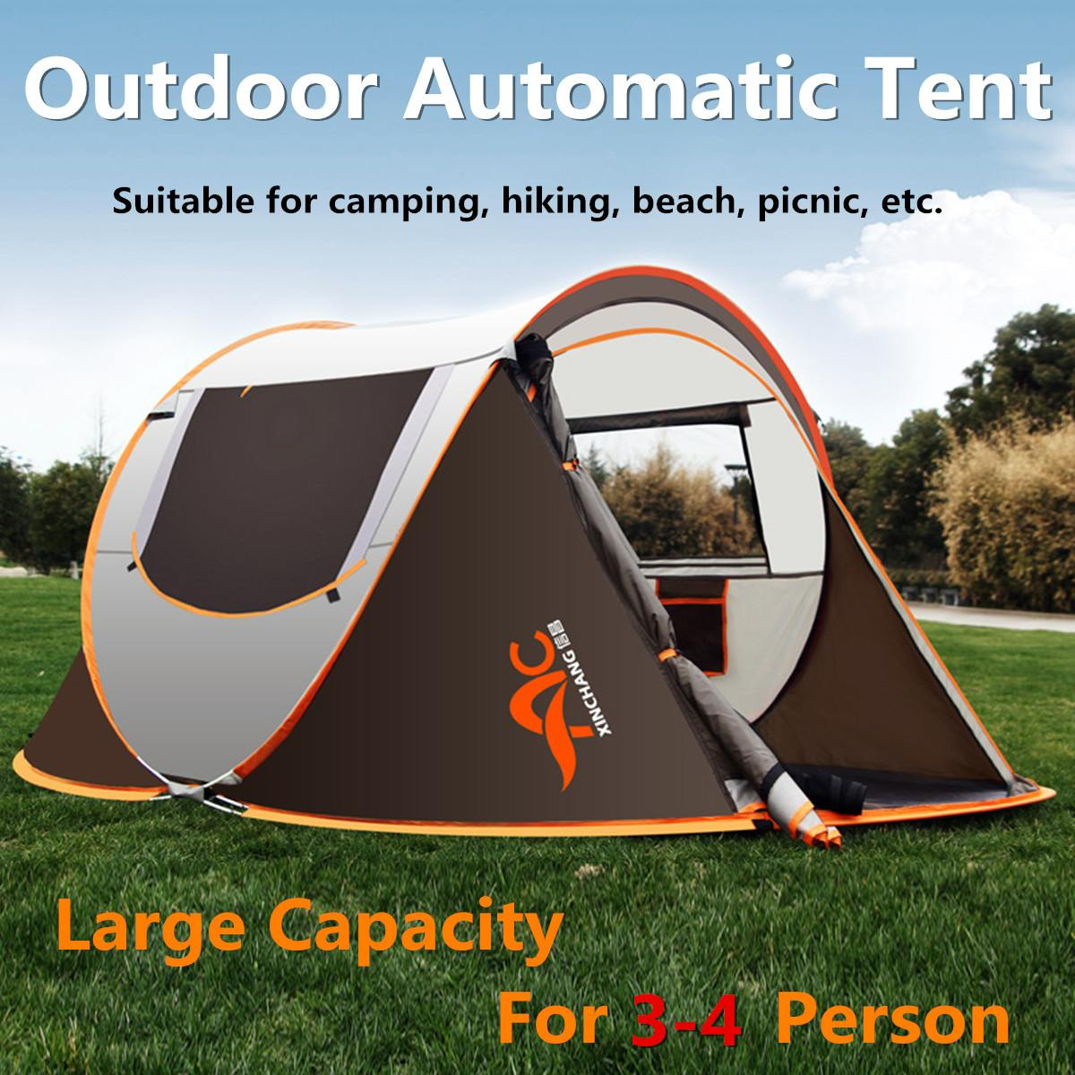 for 3 Seasons 3-4 Person Waterproof Automatic Tent Single Layer Family Outdoor Camping Hiking Durable Foldable Portable Activityfor 3 Seasons 3-4 Person Waterproof Automatic Tent Single Layer Family Outdoor Camping Hiking Durable Foldable Portable Activity