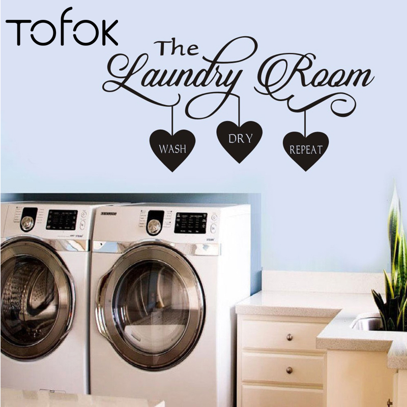 Tofok New The Laundry Room Wall Sticker Wash Dry Repeat Removable Art Vinyl Mural Bathroom Door DIY Wall Decal Poster Home Decor