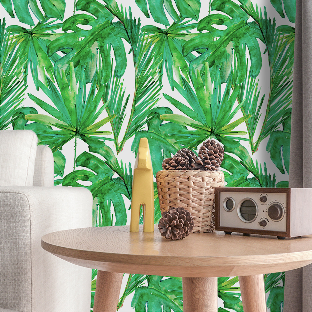 Tropical Rain Forest Plant Wallpaper Pvc Waterproof Self Adhesive Wall Sticker Palm Leaf Wallpaper Vinyl Furniture StickersTropical Rain Forest Plant Wallpaper Pvc Waterproof Self Adhesive Wall Sticker Palm Leaf Wallpaper Vinyl Furniture Stickers