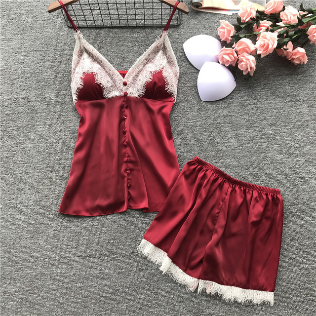 Lisacmvpnel Spring New Lace Spaghetti Strap Women Pajama Set Ice Silk With Chest Pad Twinset Lingerie