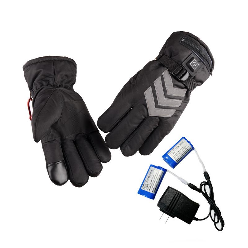 2019 Outdoor Sport Waterproof Skiing Gloves Electric Heated Gloves Reflective Duty Motorcycle Warm Touch Screen Lithium