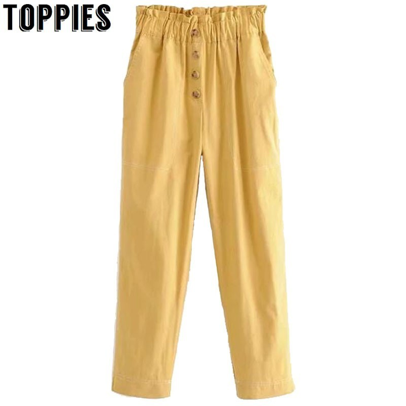 2019 Spring Summer Women Pencil Pants Solid Color High Waist Trousers Korean Button Fly Pants Pantalones Mujer