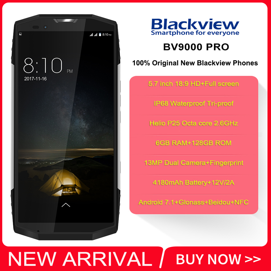 "Blackview BV9000 PRO IP68 Waterproof shockproof mobile phone Android 7.1 5.7"" 6GB RAM 128GB MT6757CD Octa core 4180mAh NFC 4G"