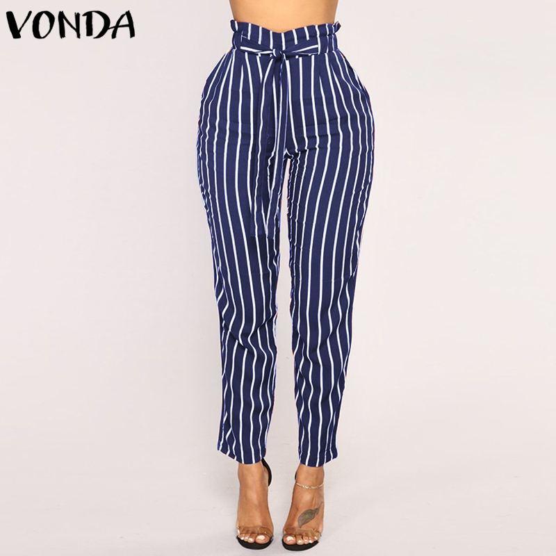 VONDA Women Harem Pants 2018 Autumn Spring Vintage Stripe Trousers Casual Loose Hight Waist Belt Pockets Pencil Bottom Plus Size