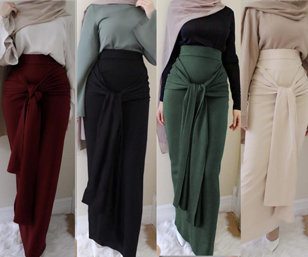 Women Belt Skirt Long Jumpsuit Muslim Bottoms Bandage Pencil Skirts Islamic Lace Up Bodycon Abaya Jilbab Knitting Cotton Dubai