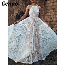 Genuo Sexy Backless Party Dress Women Halter Sleeveless Lace Dresses Bandage Long Elegant Bridesmaid Maxi Vestidos
